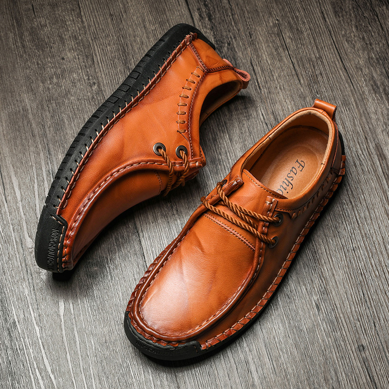 2019 Spring Men Loafers Luxury Brand Men Shoes Fashion Casual Male Shoes Lace Men Leather Shoes Leather Flat Shoes Big Sz 38-48