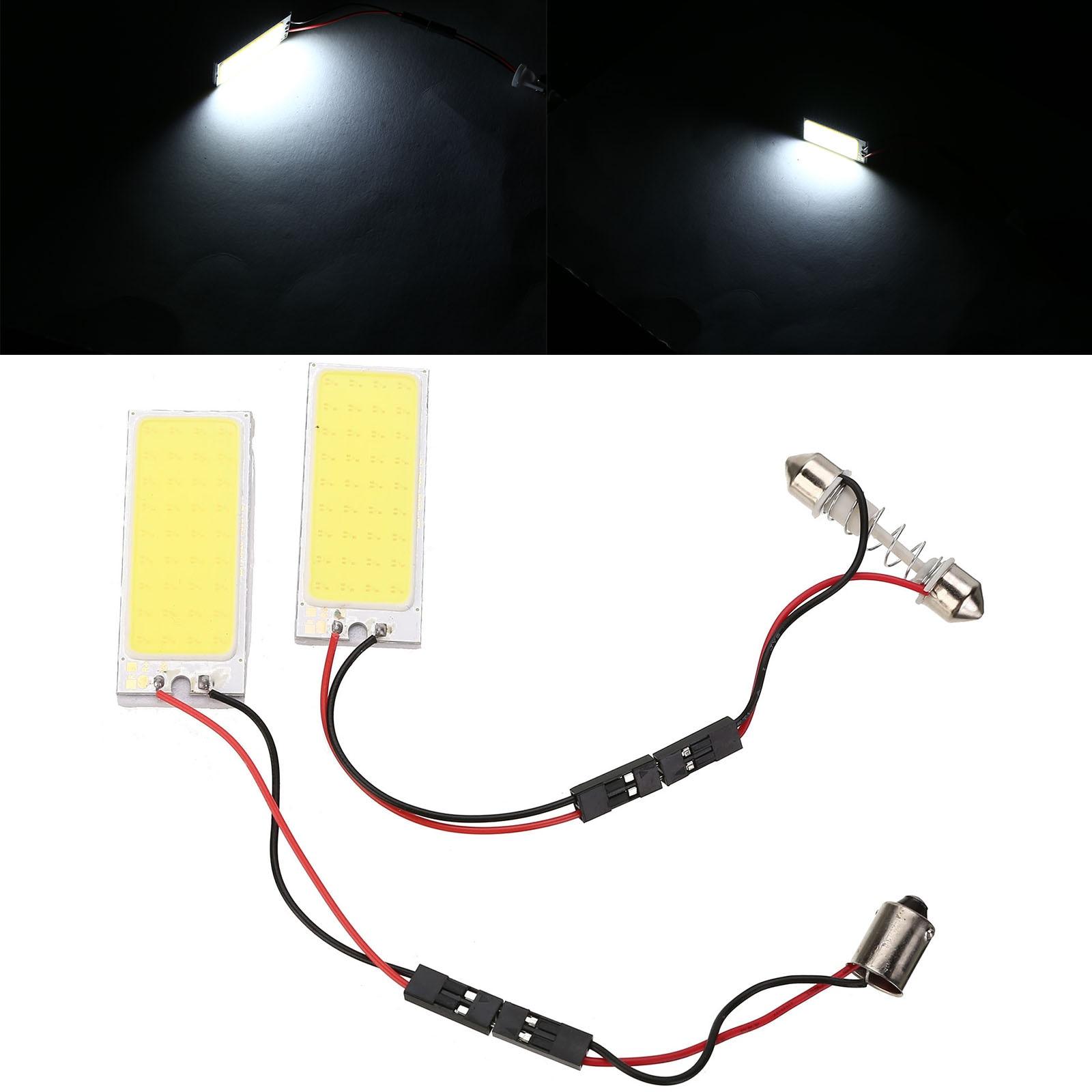 2PCS/SET 12V T10 Festoon Car Interior Light 6W 36 SMD COB LED Auto Dome Panel BA9S Light Bulb DC 12V Super White t10 1 68w 24 3020 smd led white light car steering lamps dc 12v 2 pcs