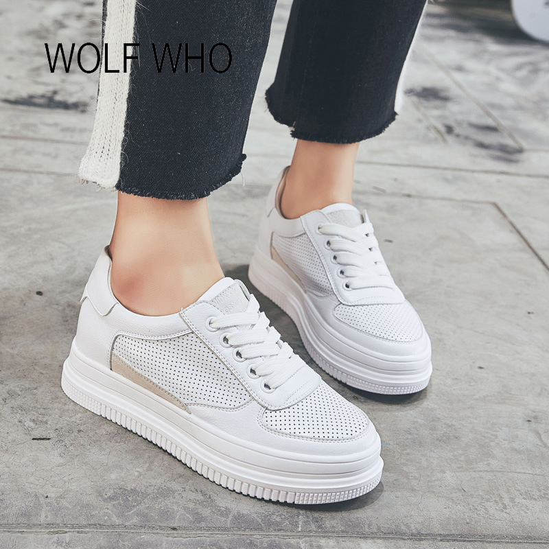 WOLF WHO 2018 Platform White Women Sneakers Microfiber Leather Ladies Shoes Tenis Femininos Casual Basket Femme h-310 wolf who women winter shoes fur wedge fashion sneakers women hidden heels basket femme tenis femininos casual h 152