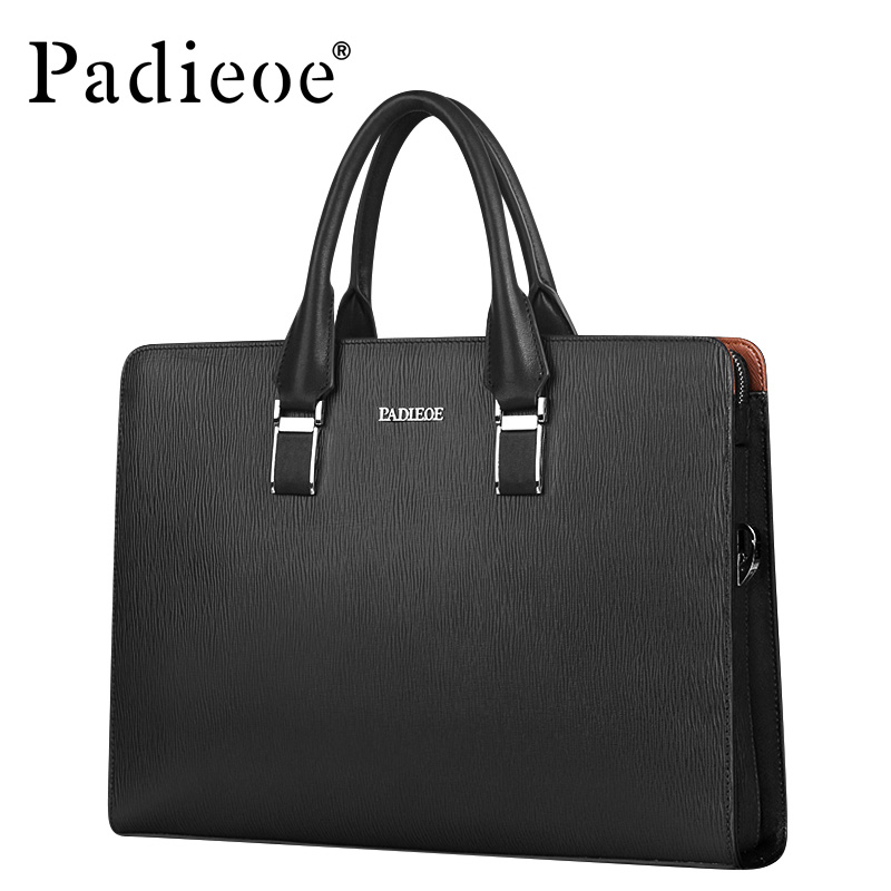 Padieoe Famous Brand Luxury Men Handbag Split Leather Shoulder Messenger Bags Business Men Briefcases Laptop Bag with Combinatio padieoe luxury men bag split leather classic business men briefcase laptop bags brand handbag