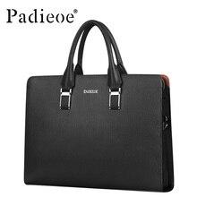 Padieoe Famous Brand Luxury Men Handbag Split Leather Shoulder Messenger Bags Business Men Briefcases Laptop Bag