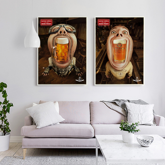 funny restaurant life popigist crazy funny people swallowing beer canvas art painting