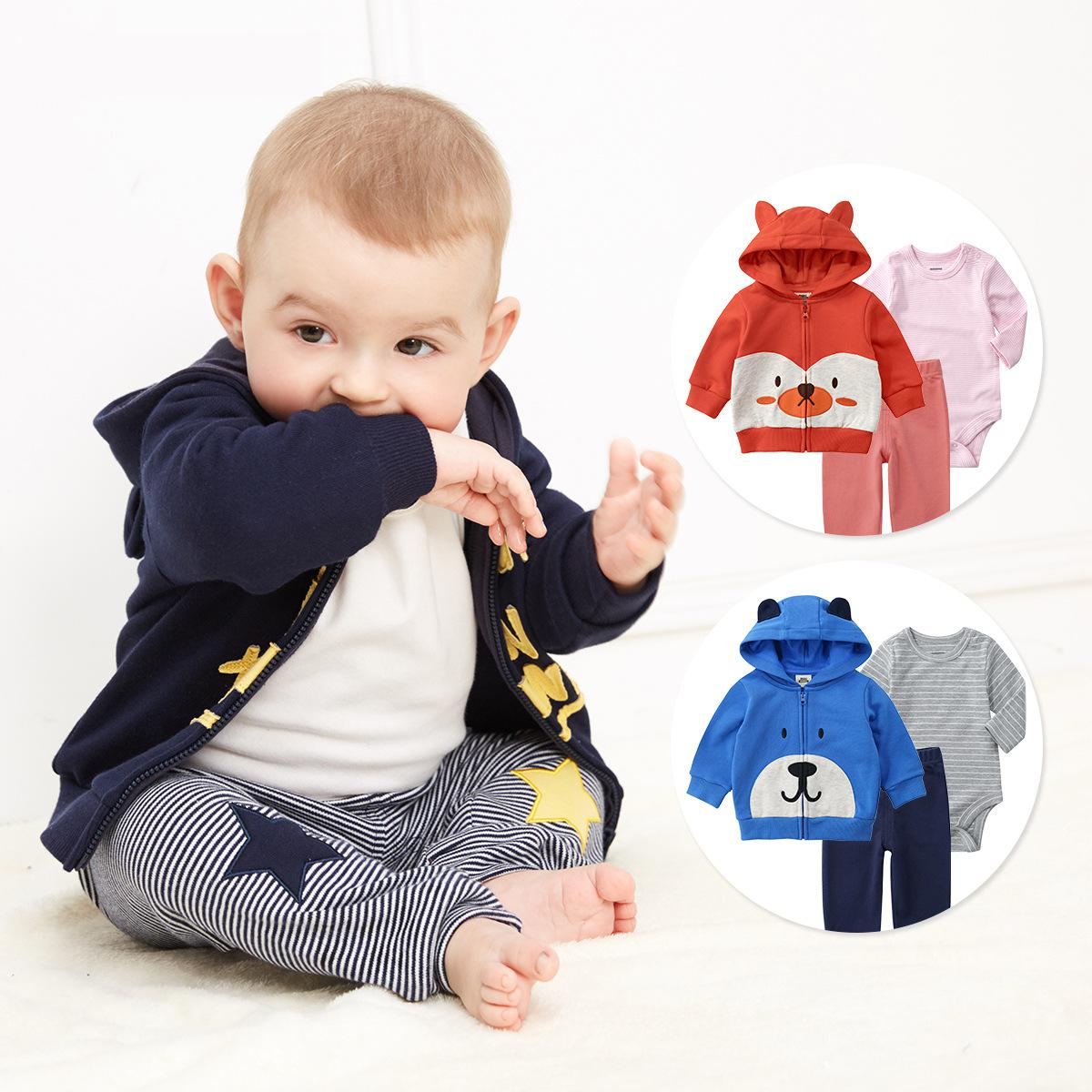 8b330b226 2019 Korean Newborn Baby boy and girl Clothes bodysuit Baby Three-piece  suit cute pure Cotton Coat infant clothing ~ Best Deal June 2019