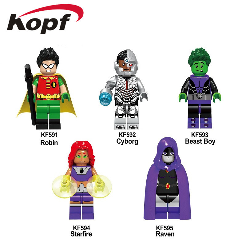 5Pcs/Set KF6049 Building Blocks Teen Titans Series Figures Robin Raven Cyborg Beast Boy Model Action Bricks For Children Toys