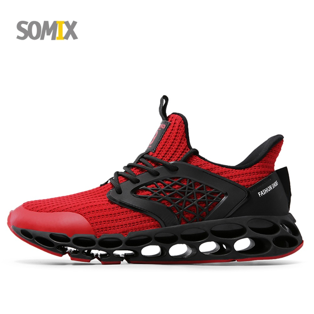 Somix Cushioning Running Shoes for Men Lightweight Fun Run Breathable Men Sneakers Outdoor Sport Shoes Professional Trainers Men summer style somix ultralight damping running shoes for men free run sneakers 2017 slip on breathable blade soles sport shoes
