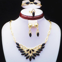 2014 New Fashion African Style DUBAI Gold Plated Black Resin And Crystal Flower Jewelry Set Necklace