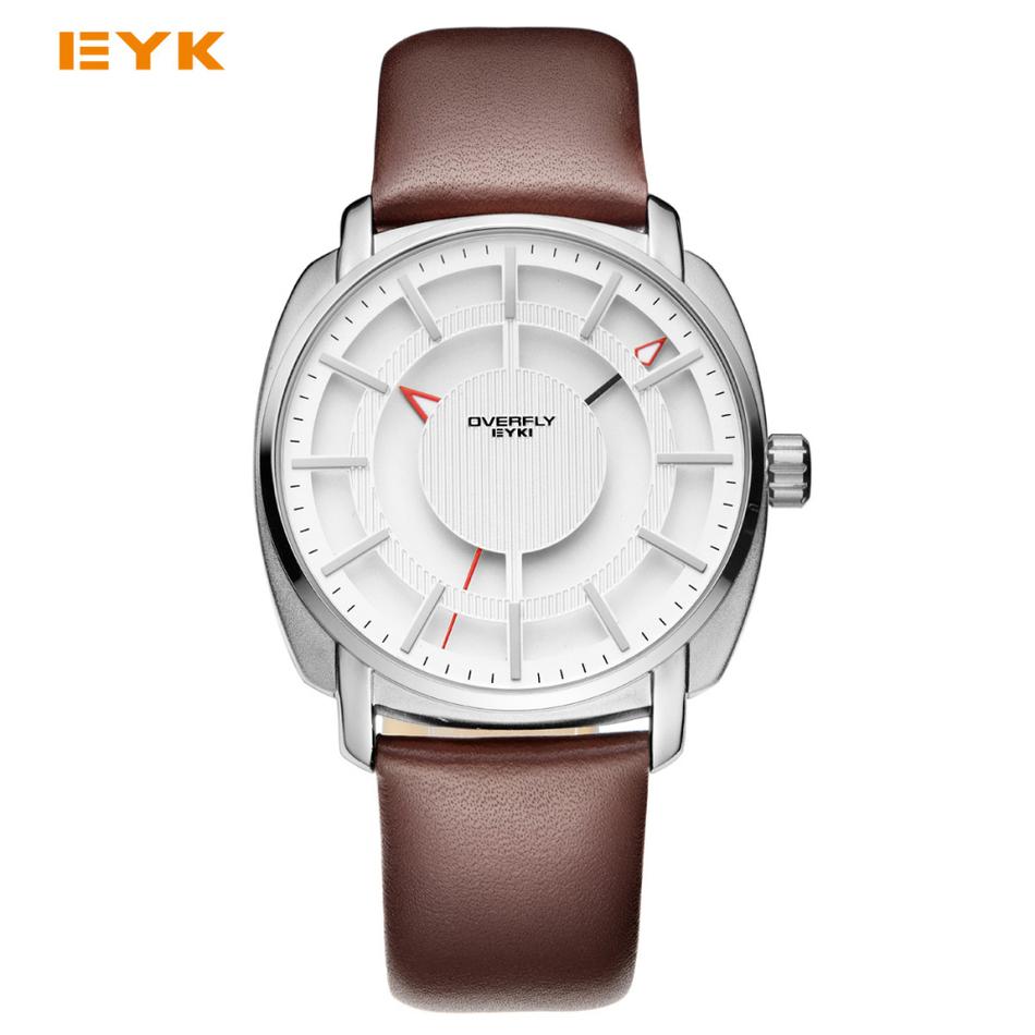 Prix pour Eyki double couche stéréo squelette cadran homme montre de mode de montres 2017 marque de luxe hommes sport montres pour hommes quartz-montre
