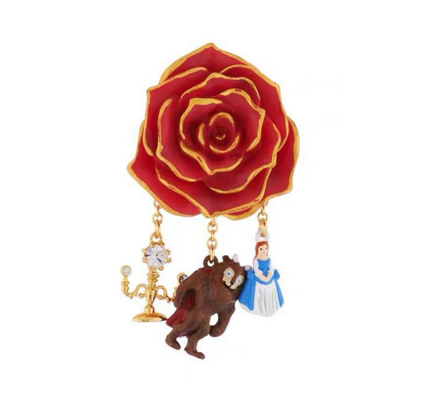 CSxjd 2019 New arrivals Enamel glaze Beauty and Beast Rose Candlestick Multi Pendant brooch
