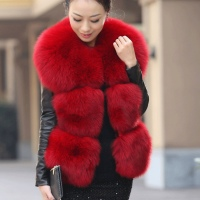 New genuine pure color real fox fur gilet real fur vest elegant O neck short design veste femme NE022