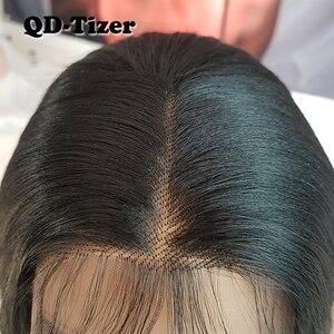 Image 2 - Lange Yaki Gerade Haar Schwarz Farbe Synthetische Lace Front Perücken Glueless Weiche 180 Dichte Spitze Vorne Perücke Yaki Haar für frauen