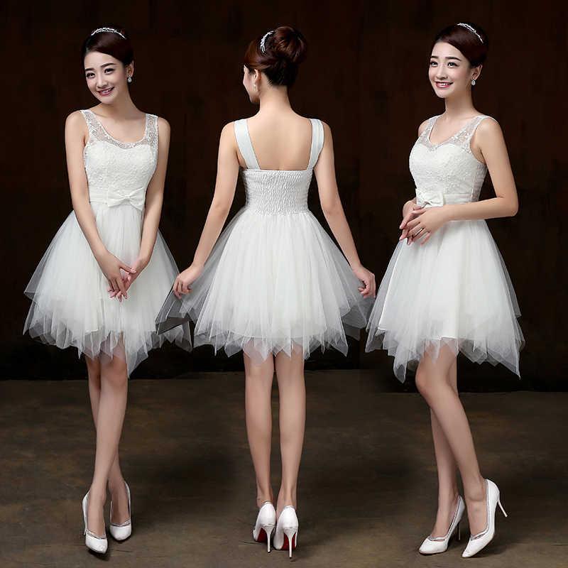 Sweet Memory Double shoulders White Bridesmaid dresses Spaghetti Straps  crepe wedding party Bridesmaid dress SW0013 d44743825a9e