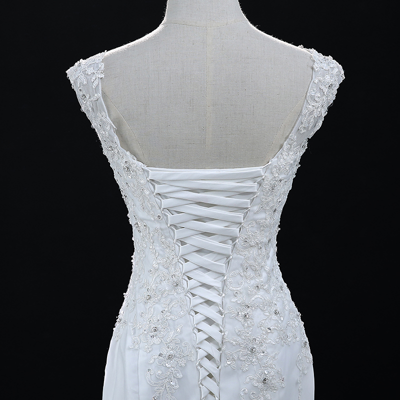 White Sleeveless Lace Mermaid Wedding Dress 6