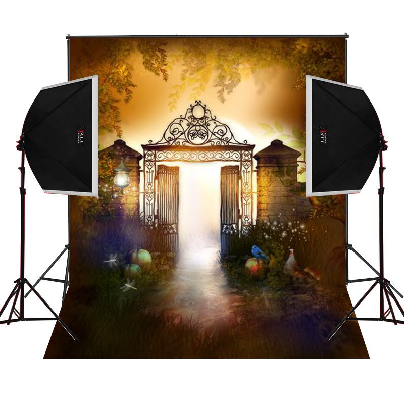 Wall iron gate scenic for kids photos camera fotografica studio vinyl photography background backdrop cloth digital props