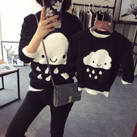 Autumn Winter Family Matching Clothes Cloud Sweater Mother And Daughter Clothes Crochet Cardigan Mom And Son