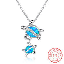 S925 Стерлинговое s ilver морская синяя черепаха кулон ожерелье