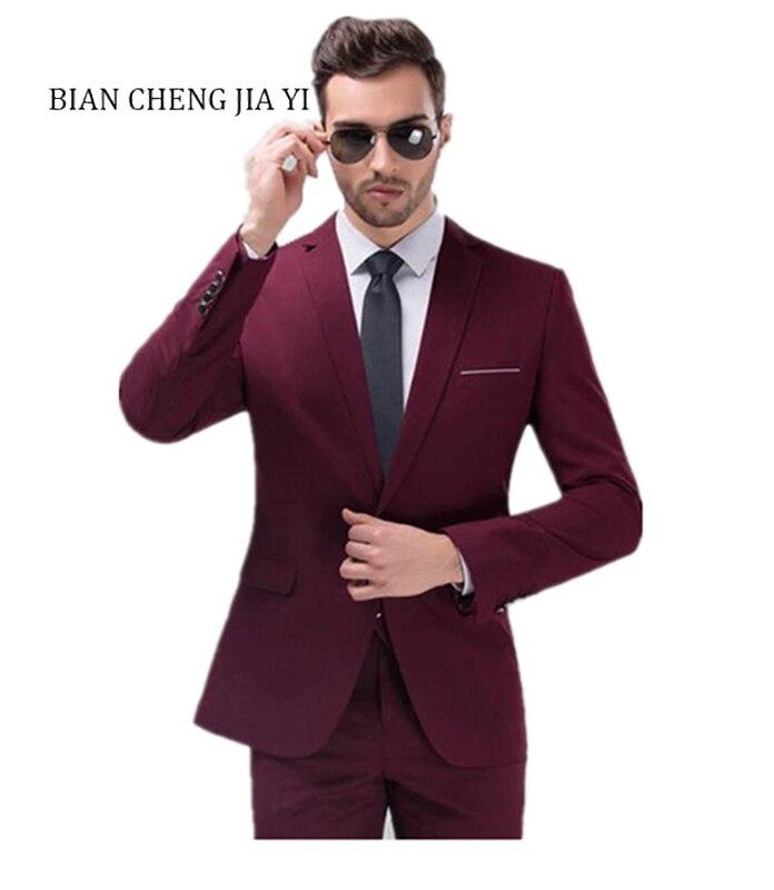 Hommes vin rouge costumes simple poitrine de mariage costumes un bouton haute qualité costumes mode fête de bal garçons d'honneur marié Tuxedos