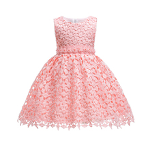 Free Shipping 2019 New Style 3T-10T Child Party Dress Lace Ivory Flower Girl Dresses For Weddings Knee Length Kids Evening Gowns 2015 elegant a line and knee length flower girl dresses for weddings layered and unique handmade flower design