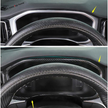Yimaautotrims Dashboard Instrument Screen Gauge Decoration Cover Trim Fit For Volvo XC60 2018 2019 ABS Matte Carbon Fiber Look