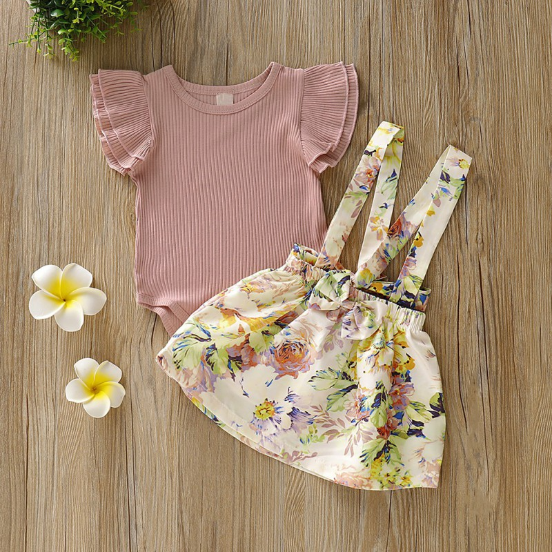Summer Baby Girl Newborn Flare Sleeve Romper and Floral Print Suspenders Skirts Costume Sets