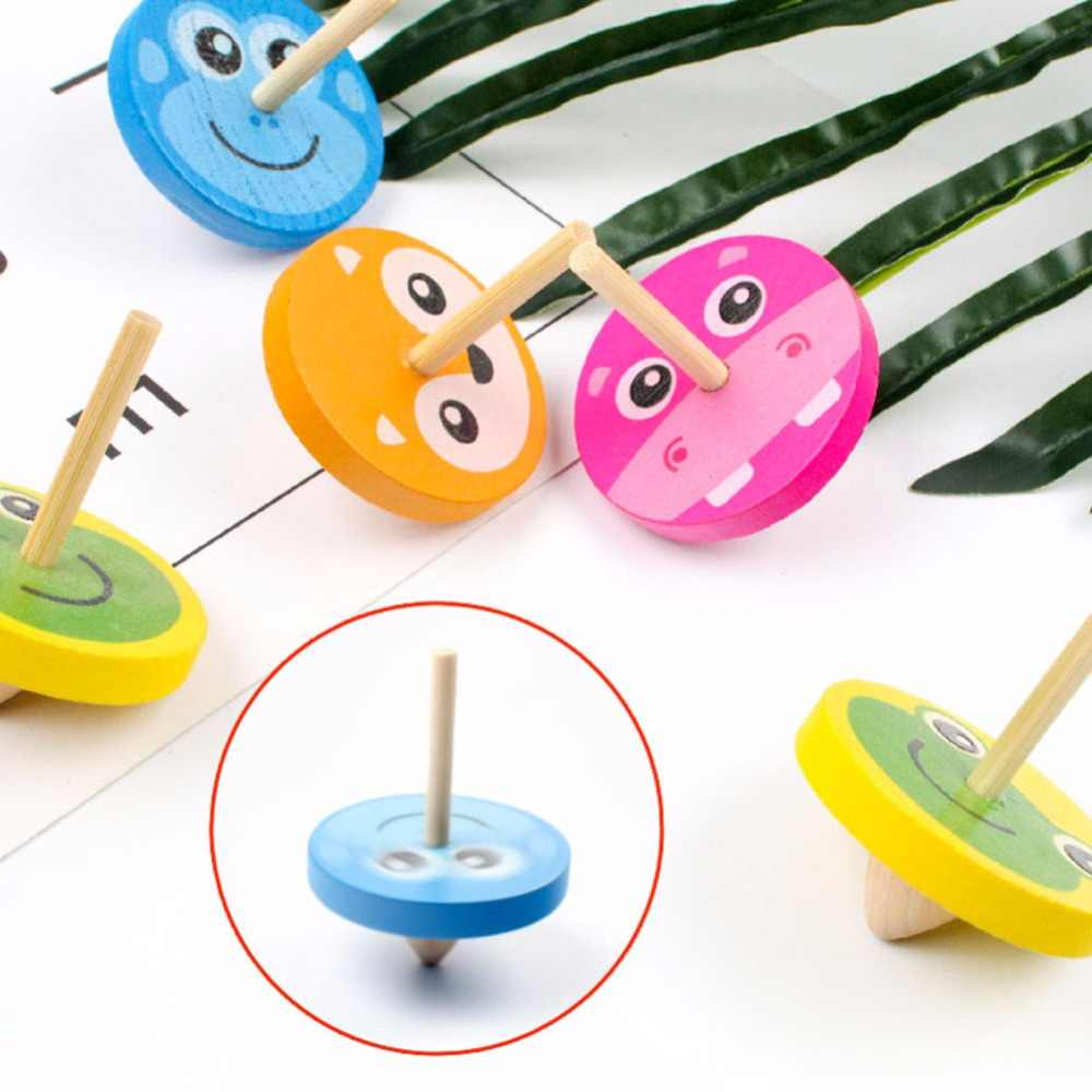 Crianças brinquedo de madeira engraçado giroscópio brinquedo colorido girando topo com 8 cartões de desenho clássico explosão brinquedo para crianças