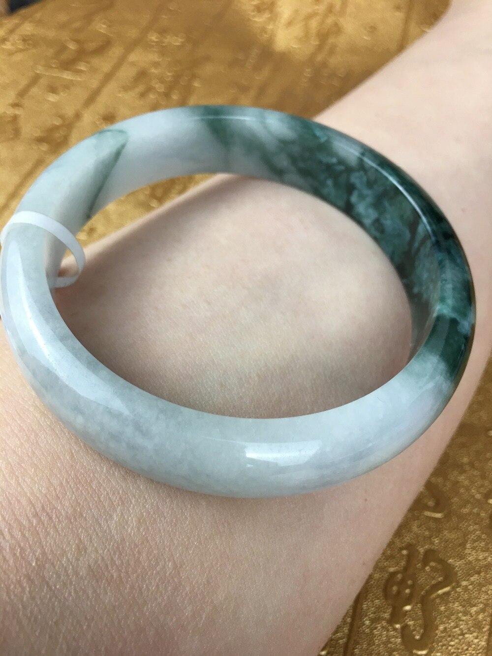 Send A certificate natural Jadeite bracelet Light green floating blue 54-61mm female bracelet Jewelry giftSend A certificate natural Jadeite bracelet Light green floating blue 54-61mm female bracelet Jewelry gift