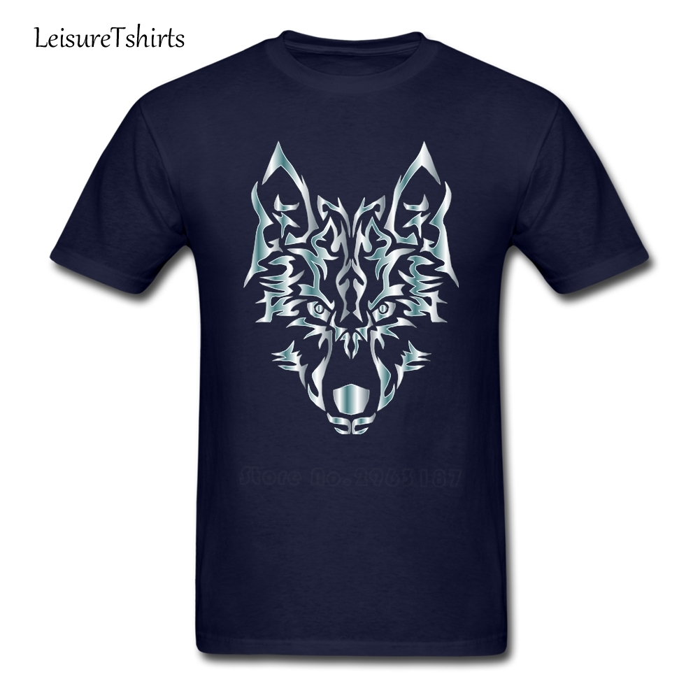 Tribal design t shirt - Silver Symmetr Tribal Wolf T Shirt Guys New Coming Simple Camisetas Home Wear T Shirt