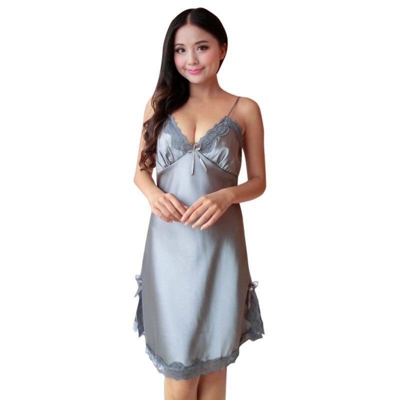 Sexy Women Silk Lace Nightgowns V-Neck Sleeveless Spaghetti Straps Nightdress Sleepwear Lace Robe Dress