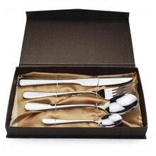 20Sets 4pcs Mirror Polished Silver Flatware Set Cutlery Set Dinner Tableware Dinner Fork Spoon Knife Teaspoon Gift Box ZA1353