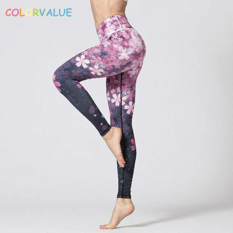 67778bdbf9 Colorvalue 3D Digital Printed Yoga Leggings Women Flexible High Waist  Fitness Sport Capri Pants Plus Size