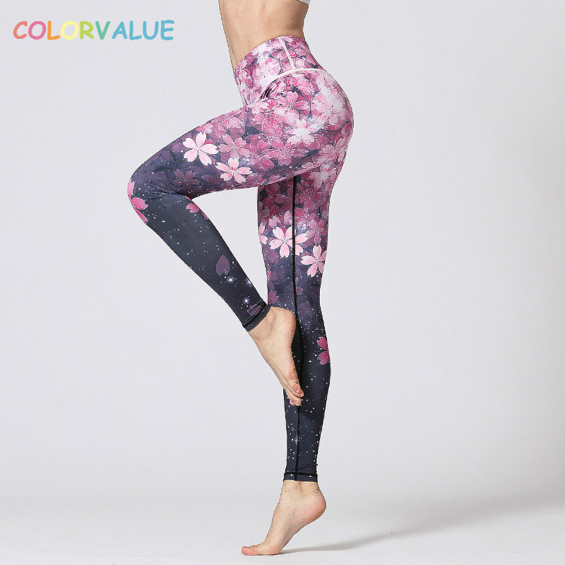 Colorvalue 3D Digital Printed Yoga Leggings Women Flexible High Waist Fitness Sport Capri Pants Plus Size Jogging Tights S-XL plus size printed empire waist peplum top