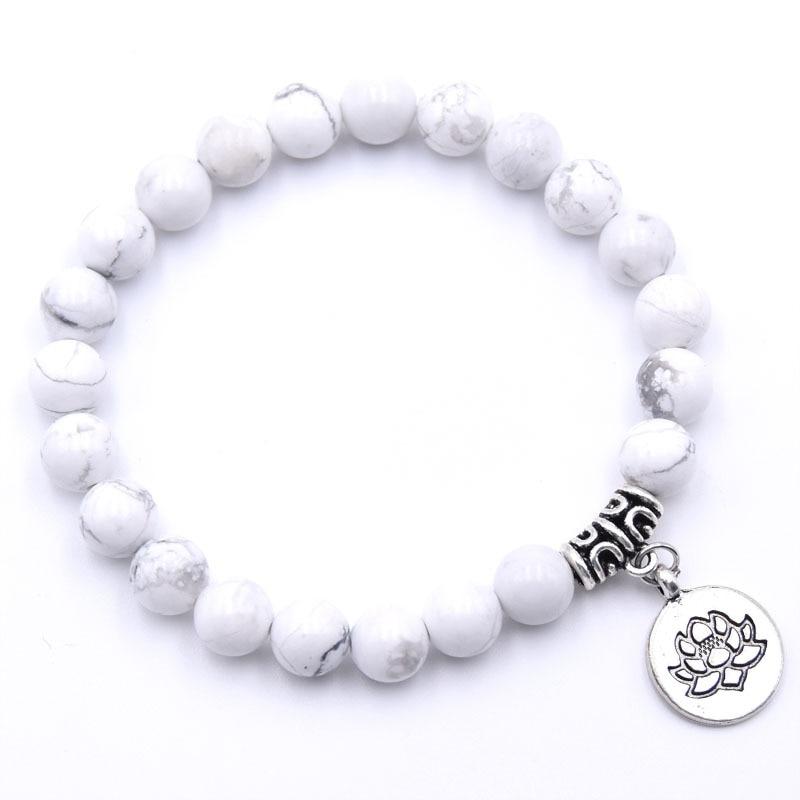 Natural Stone Lotus Buddha Beads Bracelet Matte Amazonite Mala Beads bracelets bangles For Women Men Yoga bracelet femme homme 4