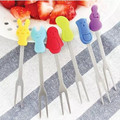 1Pcs/Set Korean Tableware Mini Stainless Steel Children Cartoon Fruit Fork Set Cake Fruit Picks Table Decor Wholesale