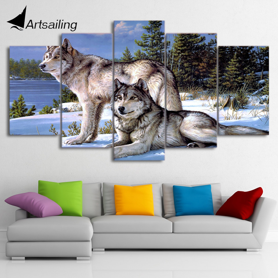 5 Pieces Canvas Art Painting Printed Wolfs in the snow winter Wall Art Print Canvas Painting