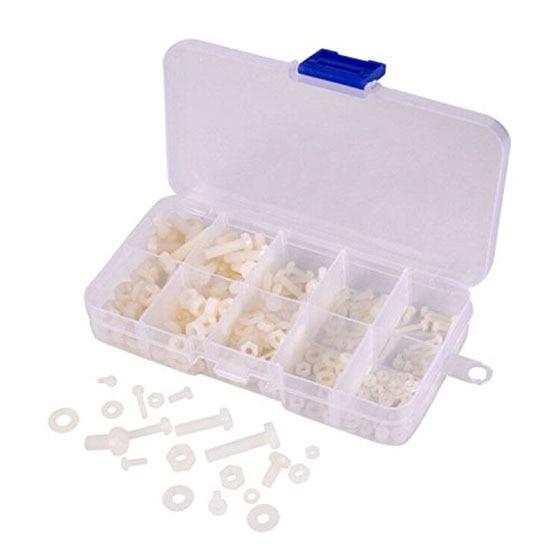 M2 M2.5 M3 M4 M5 (Total 270pcs) Nylon Screw / Nut / Washer Assortment Kit Come with Plastic Box,white