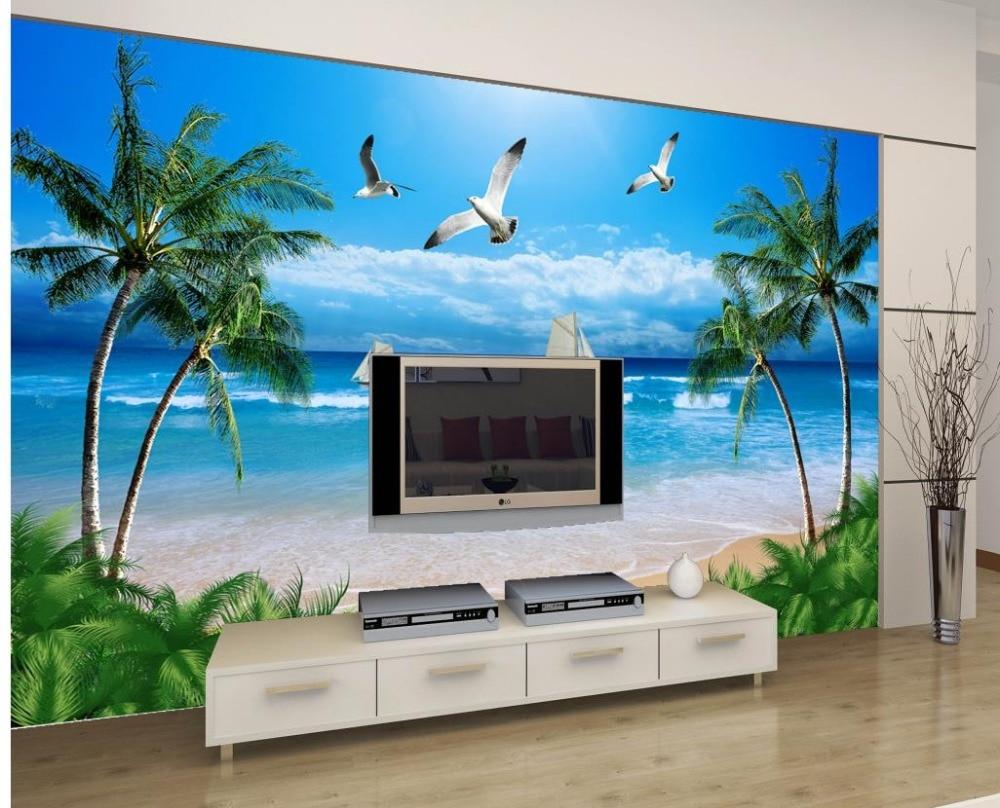 Custom 3 D Photo Wallpaper Wall Murals 3d Wallpaper Beach: Custom 3d Wallpaper Seaside Tree Beach Boat Seagull