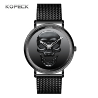 KOPECK Fashion Black Skull Men Watches 2018 High Quality Ultra Thin Quartz Watch Stainless Steel Quartz