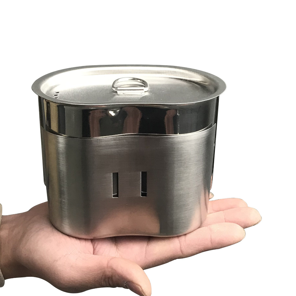 Jolmo Lander G.I. Style Stainless Canteen Cup 800ML with Lid& Canteen Cup Stove/Stand Set Camping Cooking System