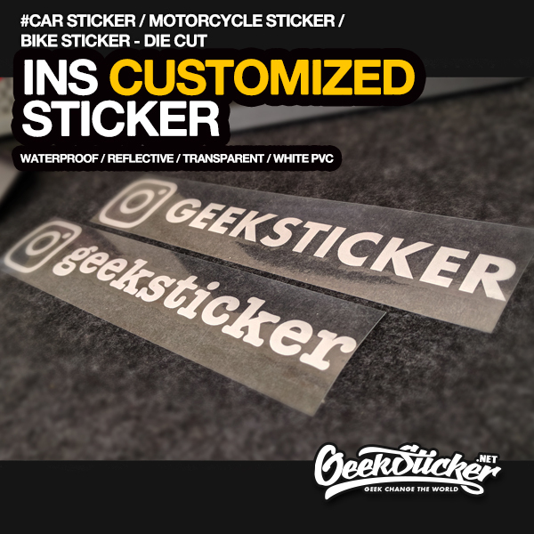 Customized Personalized Die Cut Instagram User Name Waterproof Reflective Car and Motorcycle Decals Bumper Ins Sticker