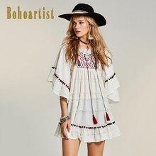 Bohoartist Women Embroidery Boho Dress 2017 Summer Ruffles Straps Tassel Dress White Party Ladies Chic Back Hippie Boho Dresses