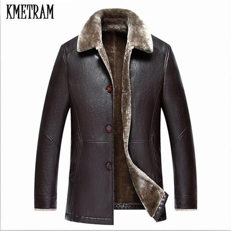KMETRAM Autumn and Winter chaqueta cuero hombre Fur Lined Leather Jackets Luxurious Clothes Fur Coat Chaqueta Cuero Hombre HH195