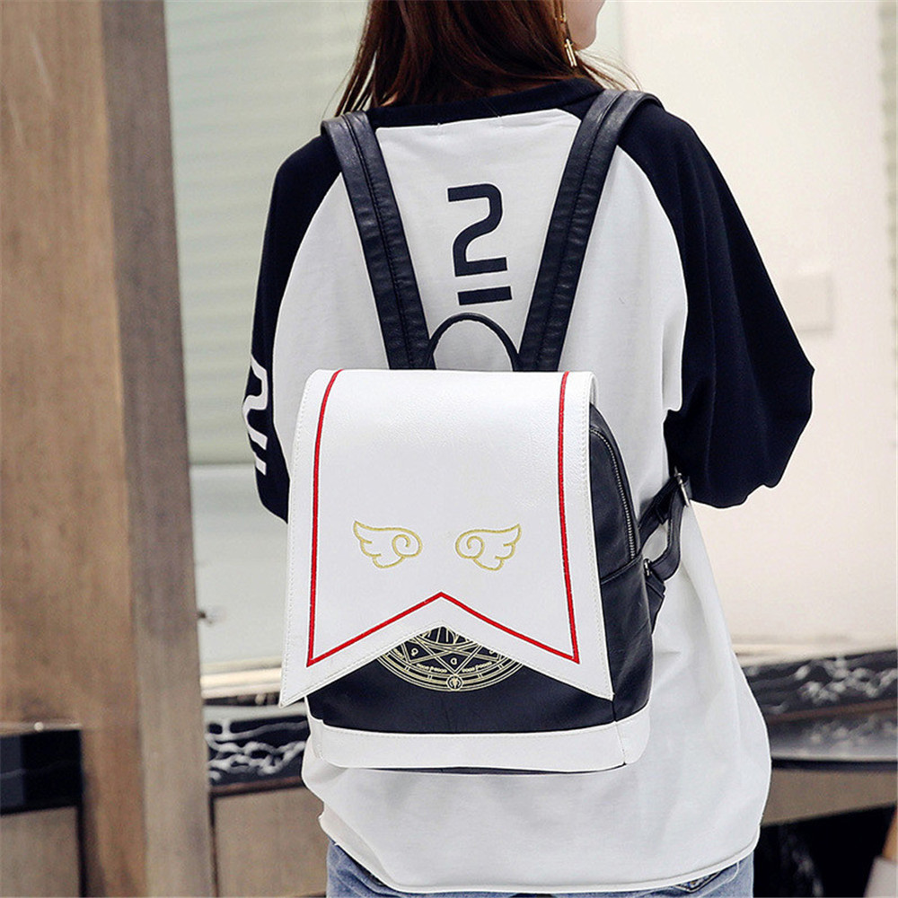Image 2 - Women Backpack Hot Sale Fashion Embroidered wings High Quality female shoulder bag PU Leather Backpacks for Girls mochilafashion leather backpackleather backpackleather fashion backpack -