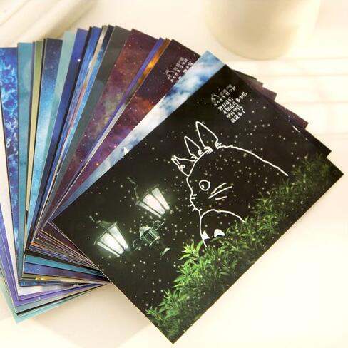 30pcs/lot Miyazaki's luminous theater greeting cards paper hand-drawn illustrations postcard festival 30pcs in one postcard take a walk on the go dubai arab emirates christmas postcards greeting birthday message cards 10 2x14 2cm
