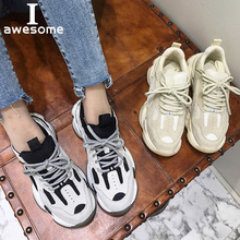 Купить с кэшбэком Genuine Leather Retro Dirty Dad Sneakers platform shoes women Chunky sneakers comfortable femme women casual Thick Sole shoe