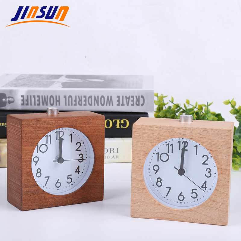 JINSUN Square Alarm Clock Балалар үшін Ағаш Snooze - Үйдің декоры - фото 3