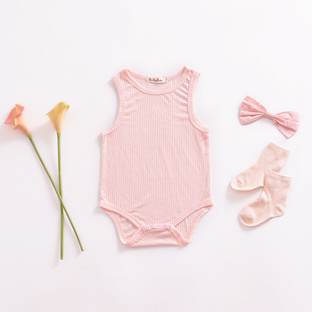 Striped pink Cotton O-neck Baby Jumpsuit