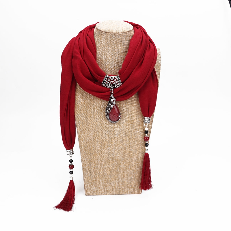 LARRIVED Multi-style Jewelry Statement Necklace Pendant Scarf Women Bohemia Neckerchief Foulard Femme Accessories Hijab Stores
