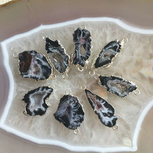 10pcs Nature Black  Quartz Geode  Gem Stone Connectors, Silver Color Crystal Drusy  Geode Pendant Beads Findings