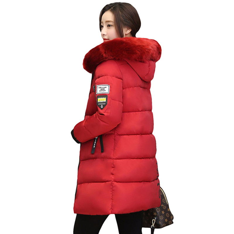2019 New Fashion Women Winter Jacket With Fur Collar Hooded Coats Female Winter Coat Long   Parka   Warm Outerwear Casacos Snowsuit