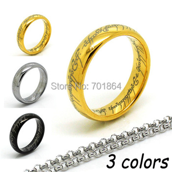 10pcs/lot Free Shipping US Size 6-12 Tungsten One Ring Width 6mm The Lord of the Rings 18K Gold Plated with Gift Pouch Packing Переносные часы