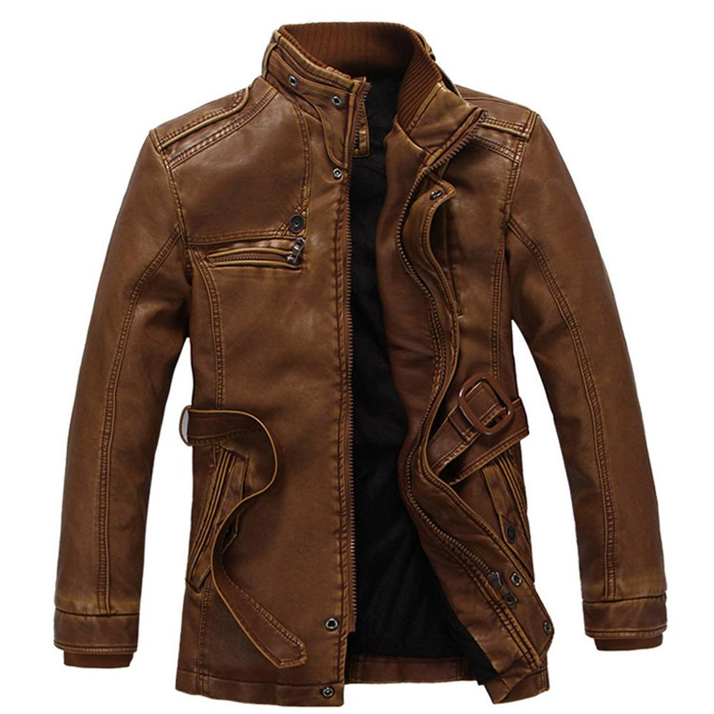 Men's Men's Casual Fashion Stand and Plush Leather Autumn Winter Fashion Velveted Zipper Pure Color Imitation Leather Coat 0712(China)